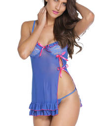 Buy Sexy Night Lace Cup Babydoll with Slit sleepwear online