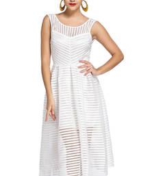 Buy Stripes V Back Midi Dress swimwear online