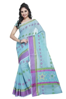Blue embroidered kota silk saree with blouse
