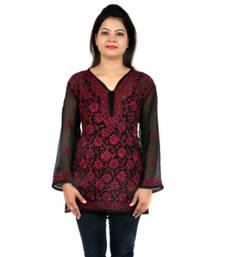 Buy Maroon embroidered georgette party-wear-kurtis party-wear-kurti online