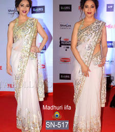 Buy White embroidered net saree with blouse bollywood-saree online