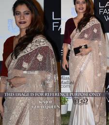 Buy White embroidered nylon saree with blouse kajol-saree online