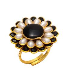 Buy black white onyx pearl pacchi work ring Ring online