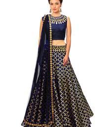 Buy Neavy Blue printed jacquard pakistani-lehengas pakistani-lehenga online
