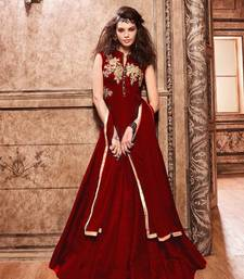 Buy Maroon embroidered Banarasi Silk semi stitched salwar with dupatta diwali-salwar-kameez online