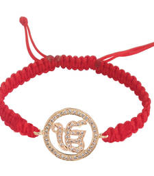 Buy Ik Onkar 14k Gold studded with Diamonds on adjustable nylon thread color red gemstone-bracelet online