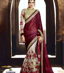 Buy Maroon embroidered net saree with blouse party-wear-saree online