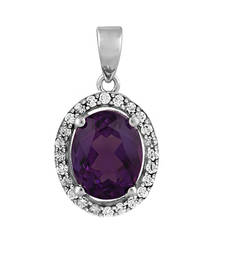 Buy 1.5ct Gold pendant with diamonds and amethyst for Women gemstone-pendant online