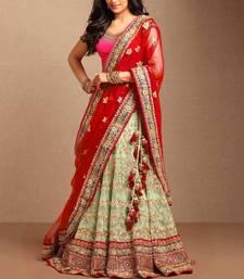 Buy Light green embroidered net unstitched lehenga bridal-lehenga online