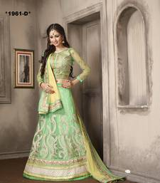 Buy Weding Special Offer Green Net With Work embroidered unstitched lehenga-choli lehenga-choli online
