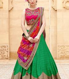 Buy Green embroidered bhagalpuri silk unstitched lehenga ghagra-choli online