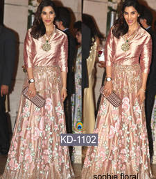 Buy Golden embroidered art silk salwar bollywood-salwar-kameez-online online