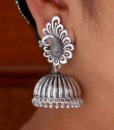 Buy Beautiful Oxidised Silver Tone Peacock Stud Jhumka Earrings diwali-jewellery online