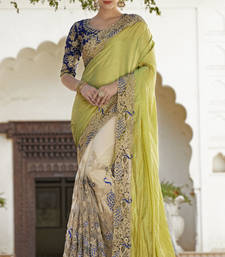 Buy Light yellow embroidered georgette saree with blouse wedding-saree online