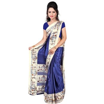 Navy blue printed crepe saree with blouse