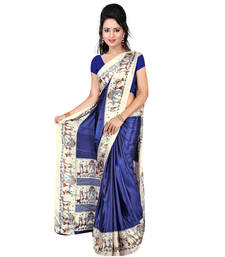 Buy Navy blue printed crepe saree with blouse crepe-saree online