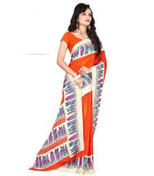 Buy Orange printed crepe saree with blouse crepe-saree online