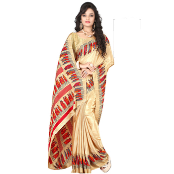 Golden printed crepe saree with blouse
