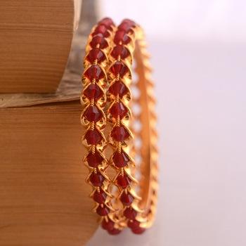 Maroon crystal bangles