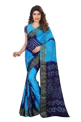 Blue and sky blue zari work cotton silk saree with blouse