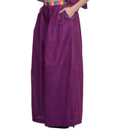 Buy Women's Designer Purple Palazzo With Multi Colored Waist palazzo-pant online