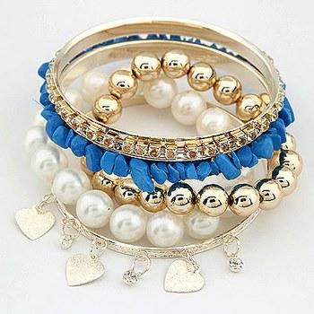 Blue Stone Pearl Bracelet Set