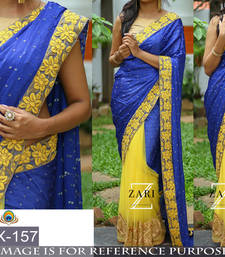 Buy Blue embroidered georgette saree with blouse wedding-saree online