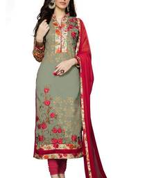 Buy Mehendi embroidered cotton poly unstitched salwar with dupatta ready-to-ship-salwar-kameez online