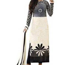 Buy White embroidered faux crepe unstitched salwar with dupatta ready-to-ship-salwar-kameez online