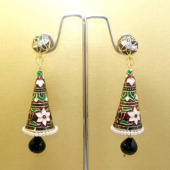 Meenakari Cone Jhumars Long with Drops (Pink White Black)