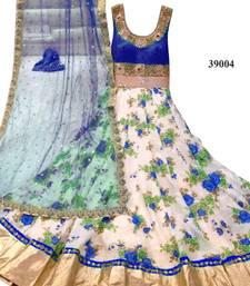 Buy Blue embroidered art silk semi stitched salwar anarkali-salwar-kameez online