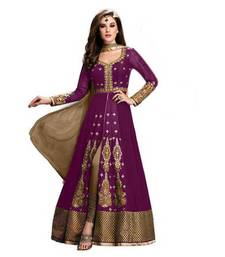 Buy Purple embroidery georgette semi stitched salwar with dupatta semi-stitched-salwar-suit online