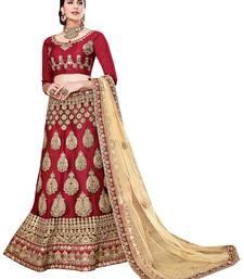 Buy Maroon embroidered net unstitched lehenga wedding-season-sale online