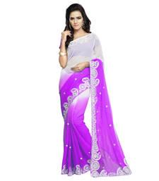 Buy Light Purple Embroidered Chiffon saree with blouse chiffon-saree online