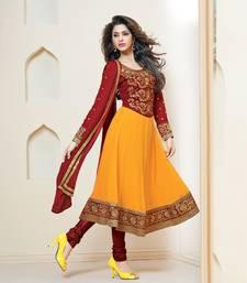 Buy Delightful Maroon and Yellow Anarkali Salwar Suit anarkali-salwar-kameez online