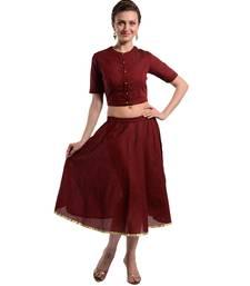 Buy Women's Designer Crop Top With Bias Cut Full Circular Skirt crop-top online