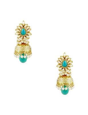 Turquoise Blue Traditional Rajwadi Jhumki Earrings Jewellery for Women - Orniza