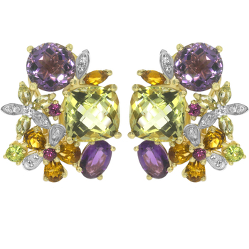 8.65ct Amethyst White gold Precious gemstone-earrings