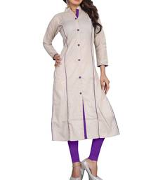 Buy silver plain cotton stitched kurti party-wear-kurtis online