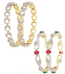 Buy Multicolor cubic zirconia bangles-and-bracelets combo-earring online