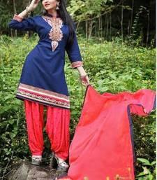 Buy Blue embroidery cotton semi stitched salwar with dupatta patiala-salwar online