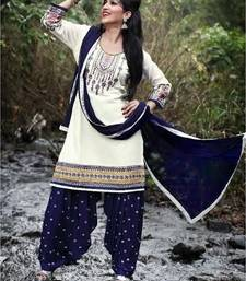 Buy White embroidery cotton semi stitched salwar with dupatta patiala-salwar online