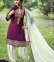 Buy Purple embroidery cotton semi stitched salwar with dupatta patiala-salwar online