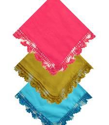 Buy Pink, Green and Light Blue Crochet Handkerchiefs wedding-gift online