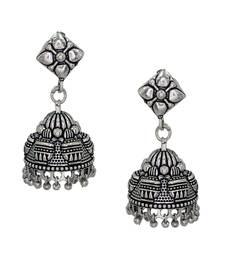 Buy New look Designer Oxidised Silver Plated Jhumki Earrings For Women And Girls jhumka online