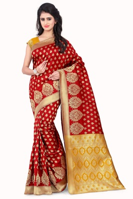 Red printed banarasi silk saree with blouse