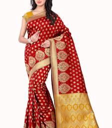 Buy Red printed banarasi silk saree with blouse banarasi-saree online