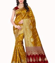 Buy Yellow printed banarasi silk saree with blouse black-friday-deal-sale online