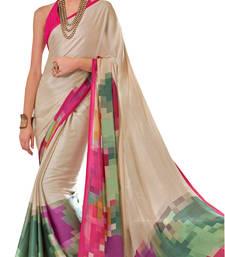 Buy Cream Crepe Printed saree with blouse printed-saree online