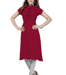 Buy Maroon plain rayon long-kurtis long-kurtis online